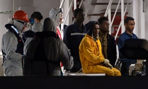 Rescued migrants off the Libyan coast