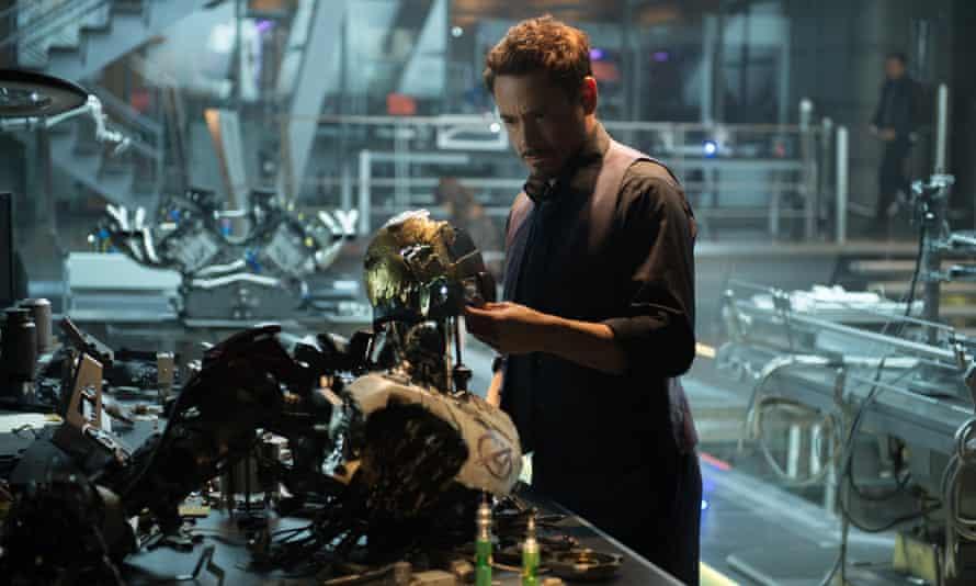 Robert Downey Jr as Iron Man/Tony Stark in the film, Avengers: Age Of Ultron.