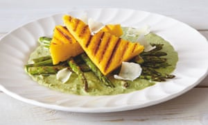 Thomasina Miers' grilled asparagus and polenta with watercress cream: 'A lovely light lunch.'