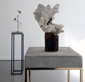 Carol Bove's Coral Sculpture (2008), in the foreground, and Heraclitus (2014).