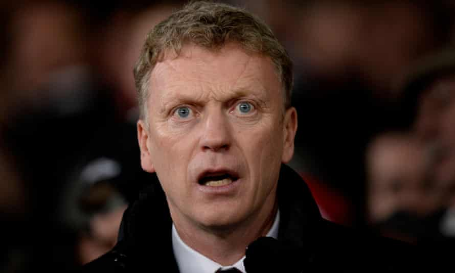 David Moyes during Manchester United's game with Swansea City in January 2014.