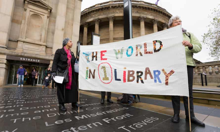 Demonstrators in November 2014 outside Liverpool's recently refurbished Central library protest the city council's plans to close 11 of 19 libraries in the city.