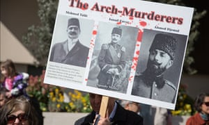 A placard shows the images of the Ottomans believed to be responsible for the Armenian genocide.