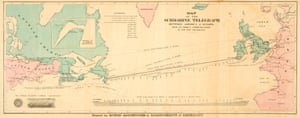 Map of the 1858 Atlantic Cable route