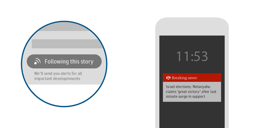 Feedback for pressing the 'follow this story' button and example of a follow up alert on the device.