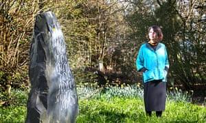 Harriet Frazer with Welsh Slate Monolith