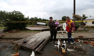 Colleen and Stephen Jones stand where their house once stood after it was swept away during flooding in the town of Dungog, also in the Hunter region.