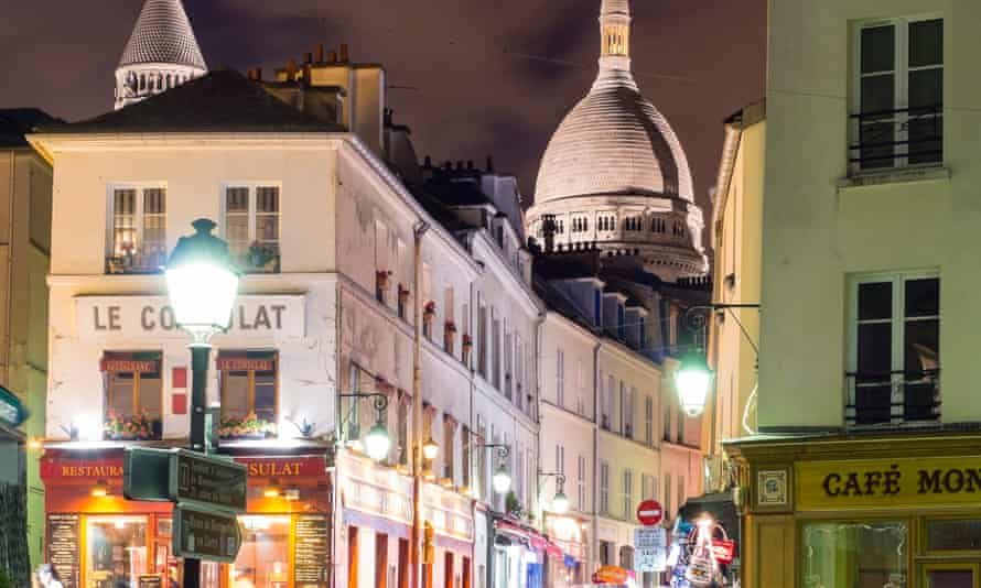 The dome of the Sacre Coeur Basilica over Montmartre in Paris.