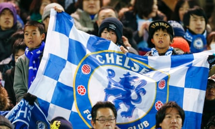 Japanese fans cheer Chelsea before the 2012 Club World Cup final against Corinthians at Yokohama International Stadium.