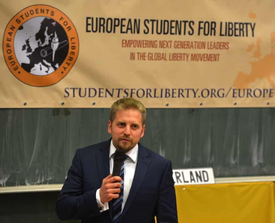 Vit Jedlicka addresses an audience at the University of Economics in Prague.