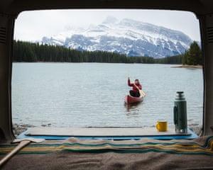 Lazy canoe, Alberta, Canada