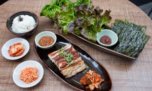 Korean advice: Boo Ssam pork belly with apple cabbage kimchi.