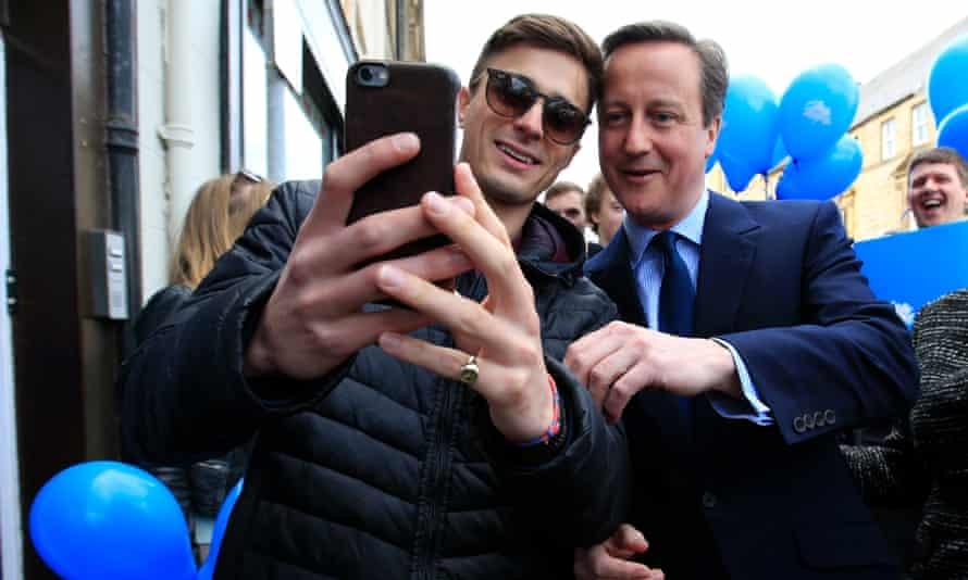 David Cameron poses for a selfie photograph