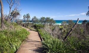 A timber walkway at the entrance to the cave beach at Booderee national park.