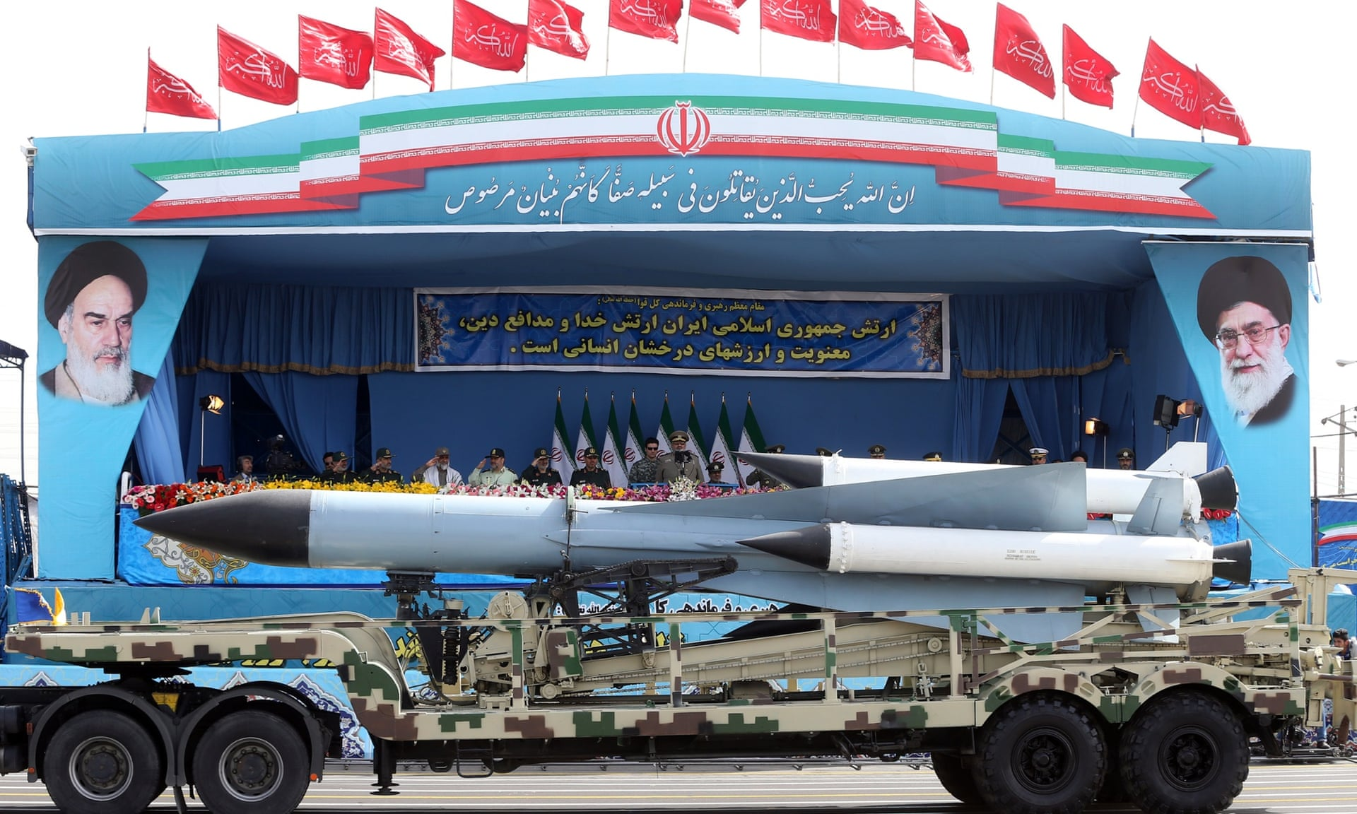 Missiles are displayed by the Iranian army in a military parade marking National Army Day just outside Tehran