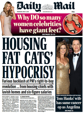 Front page of the Daily Mail