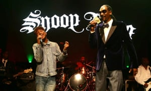 'When I work with Pharrell he allows me to be me, but also gives me great direction': Snoop Dogg on stage with Pharrell Williams.