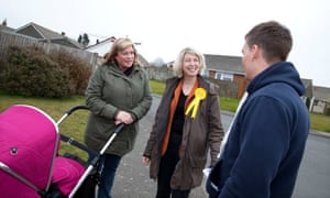 Vote Sarah: Smith shares the Lib Dem message with Karen and Matt Devine on the streets of Dover.
