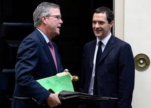 Jeb Bush talks to George Osborne on the doorstep of 11 Downing Street