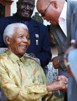 Jacob Zuma speaks to Nelson Mandela