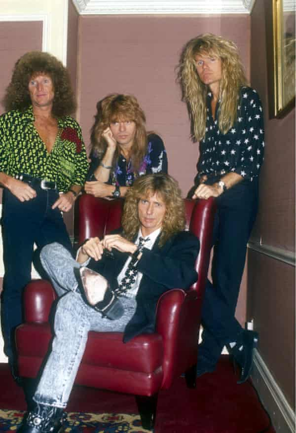 Whitesnake in 1989, with Coverdale seated.