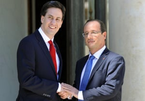 Ed Miliband is welcomed by François Hollande before a meeting at the Elysée Palace in Paris.