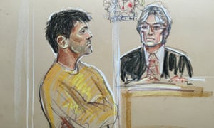 Court artist's sketch of Navinder Singh Sarao at Westminster magistrates court.