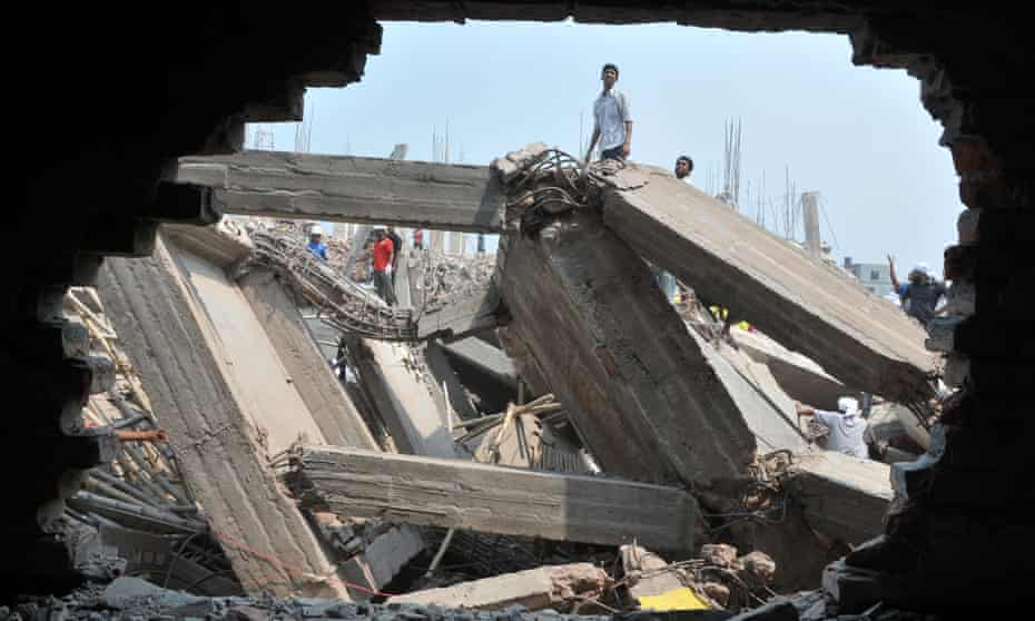 Rescuers work at the collapsed Rana Plaza complex in the Greater Dhaka district of Savar.