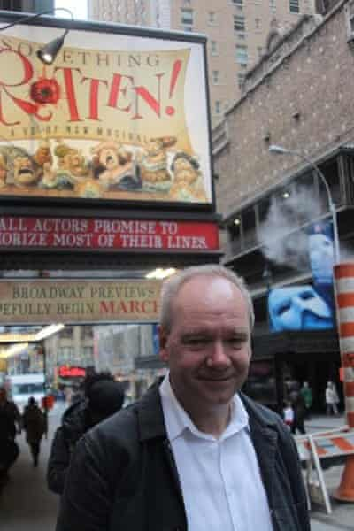 John O'Farrell outside the St James Theater, New York.