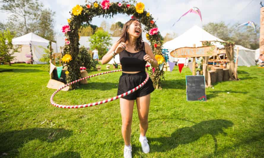 Hula-la: a shameful display of health and sobriety at last year's Bestival 2014.