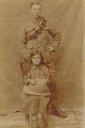 1918, Mosul. Sirvard was paid 1 Ottoman pound to pose with a British soldier.