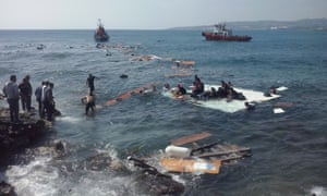 migrants and wreckage Rhodes