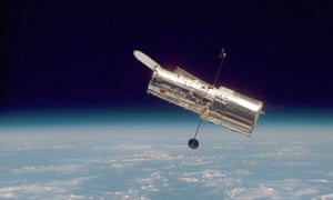 The Hubble space telescope, photographed in 1997.