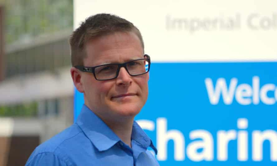 Matt Williams in front of the Imperial College Trust sign.