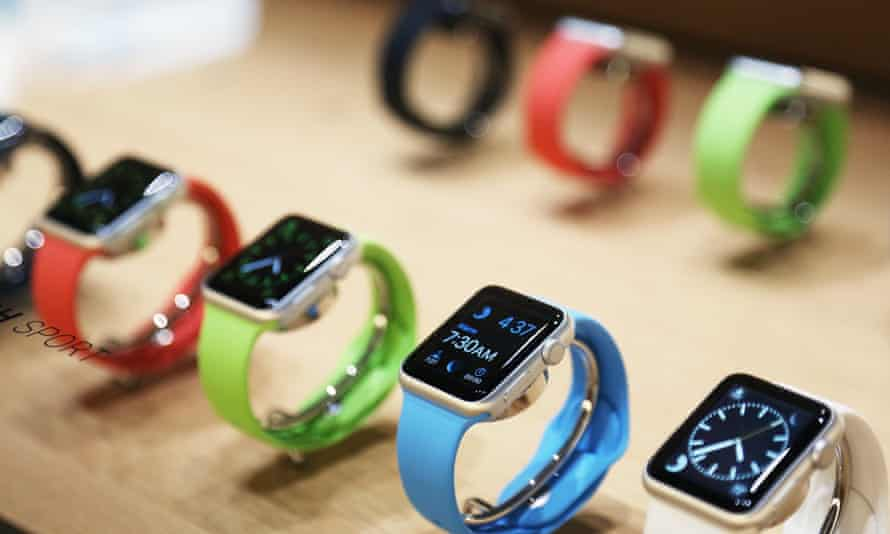 Apple watches are displayed following an event in San Francisco, California, in March 2015.
