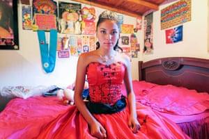 Lucía in her sweet fifteen (Quinceañera) dress. Medellín, Colombia