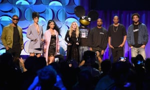 Usher, Rihanna, Nicki Minaj, Madonna, Deadmau5, Kanye West, Jay Z, and J Cole at the Tidal launch last month in New York.