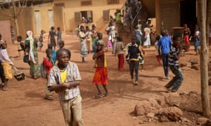 Students during a break in classes, at a school in the Sabalibougou area of Bamako.
