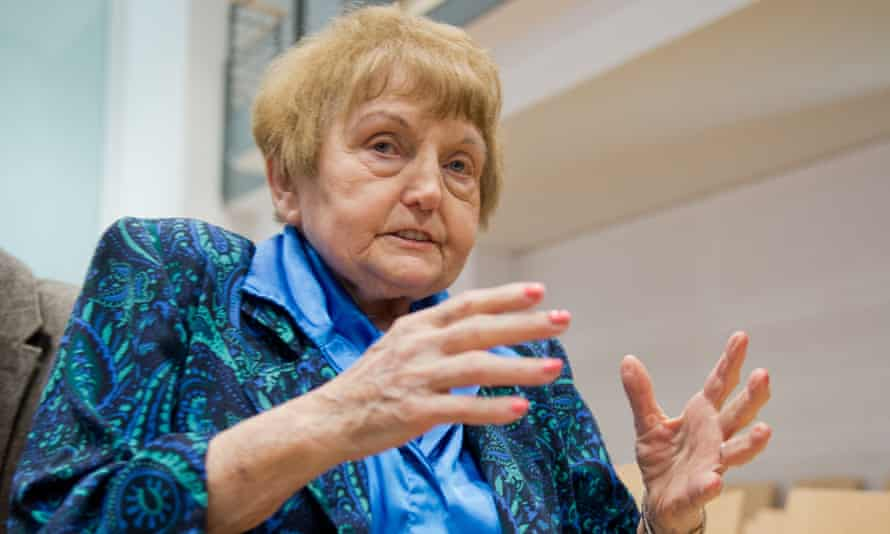 Auschwitz death camp survivor Eva Mozes Kor in the courtroom in Lüneburg, Germany.