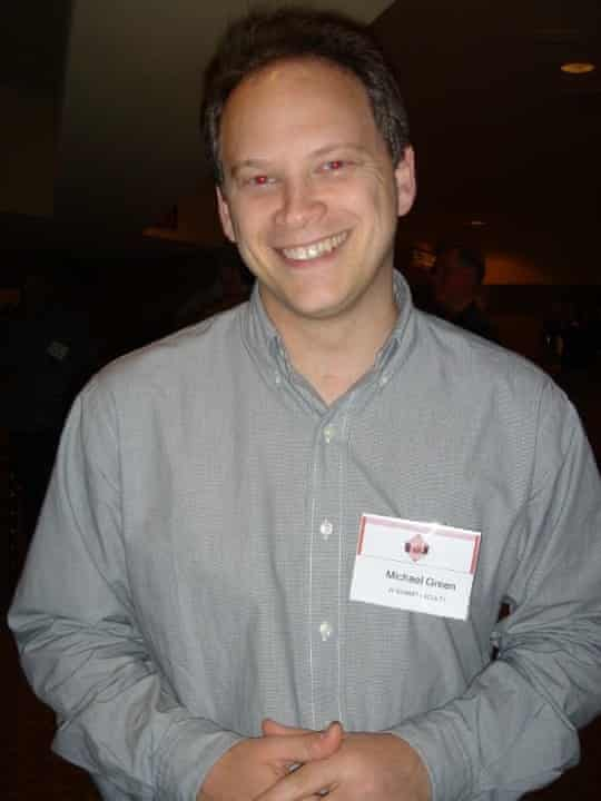 Grant Shapps wears a Michael Green name badge.