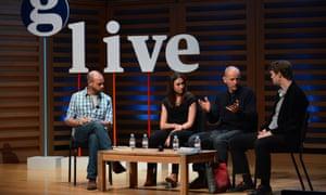 Ben Stewart, Alex Harris, Frank Hewetson and Luke Harding speaking at Guardian Live: Freeing the Arctic 30, London, 22 April 2015.