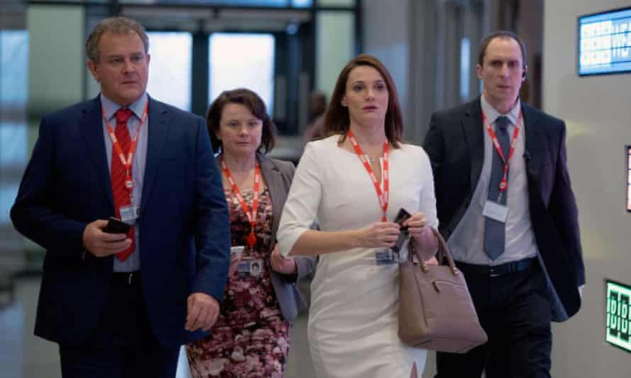 What is a BBC story today? Ian Fletcher (Hugh Bonneville), Tracey Pritchard (Monica Dolan), Anna Rampton (Sarah Parish) and Dave Green (Andrew Brooke).