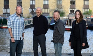 Ben Stewart, Fred Hewetson, Phil Ball and Alex Harris photographed in King's Cross ahead of Guardian Live: Freeing the Arctic 30, London, 22 April 2015.