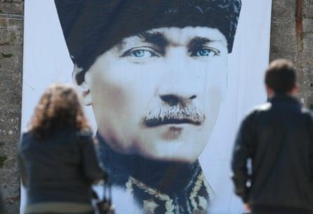 A portrait of  Mustafa Kemal Atatürk.