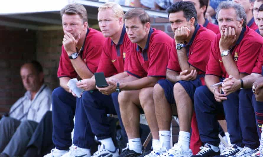 From right to left, the then Barcelona manager Louis van Gaal, assistant coach Ronald Koeman,  keeper's trainer Frans Hoek and assistant trainer José Mourinho during a friendly in Amsterdam in 1999