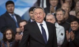 Kazakhstan's president Nursultan Nazarbayev during an election campaign rally in Almaty.