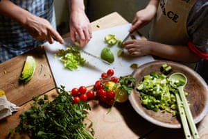 Making a chop-chop salad is easy for young hands to help with