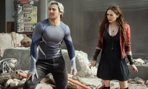 Aaron Taylor-Johnson as Quicksilver and Elizabeth Olsen as Scarlet Witch in Avengers: Age of Ultron.