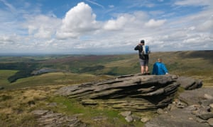 Looking towards Kinder Reservoir from the Pennine Way at Kinder Scout in the Peak District.