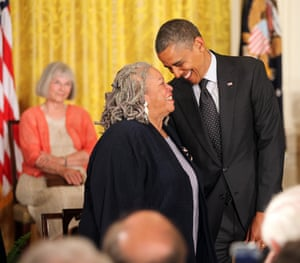 Barack Obama awards the medal of freedom to Toni Morrison in 2012.